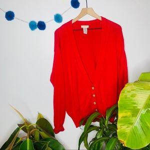 vtg vsco y2k chunky bright red grandpa cardigan